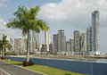 Partial view of panama city skyscrapers panoramic from balboa av Royalty Free Stock Photography