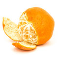 Partially peeled tangerine orange ripe isolated on a white background Royalty Free Stock Photos