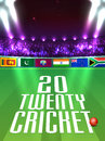 Participant Countries Flags for Cricket Sports concept. Royalty Free Stock Photo