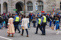 Participants of children`s spring parade at the Zurich City Hall Royalty Free Stock Photo
