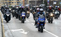 Participants in the motorcycle procession on 28 march 2015, Sofia, Bulgaria Royalty Free Stock Photo