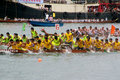 Participants paddle their dragon boats Stock Photography