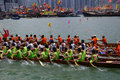Participants paddle their dragon boats Stock Photos