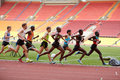 Participants of race on racetrack moscow jun at grand sports arena luzhniki oc during international athletics competitions iaaf Stock Photos