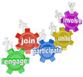 Participate people climbing gears join engage involve a team of marching up with words unite and to illustrate teamwork and Stock Photo