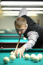 Participiant take part in competition of billiard Royalty Free Stock Photos
