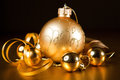A particular of a Christmas decorations.gold Stock Image