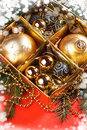 A particular of a Christmas tree with decorations Royalty Free Stock Photos