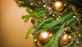 A particular of a Christmas tree with decorations. Royalty Free Stock Photos