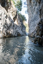Particular gorges alcantare at catania vertical photo with blue sky Royalty Free Stock Photos