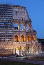 Particular view of the colosseum in the process of restoration detail with structure partially covered by scaffolding for work Royalty Free Stock Photography