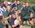 Partido del rugby de la escuela Imágenes de archivo libres de regalías