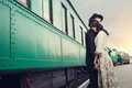 Parting of lovely couple on railway station Stock Photos