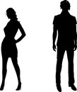 Parting silhouette of a man and a woman had a row Stock Photos