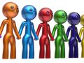 Partnership characters teamwork social network chain line Royalty Free Stock Photo