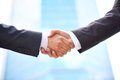 Partnership close up of business partners shaking hands to do business together Royalty Free Stock Image