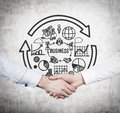 Partnership concept handshake and on gray background Royalty Free Stock Images