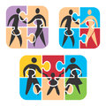Partnership and family concept icons symbolizing friendship in puzzle vector illustration Stock Photography