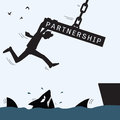 Partnership helping and survive concept in help each other representing with crane lifting concrete iron to help rescue business Stock Photography