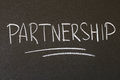 Partnership inscription in chalk on a blackboard Royalty Free Stock Images
