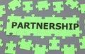Partnership puzzle jigsaw with word Stock Photos