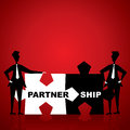 Partnership puzzle piece hand stock Royalty Free Stock Photography