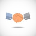 Partnership vector businessman handshake icon in flat or old style with shadow over white Royalty Free Stock Photography