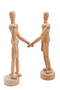 Partnership wooden models create a business agreement Stock Images