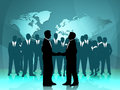 Partnership world means work together and cooperation showing team globe Royalty Free Stock Photo