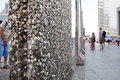 Parts of berlin wall on potsdamer platz berlin germany july with chewing gums stuck to it july in tourists can admire original Royalty Free Stock Photo