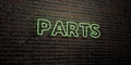 PARTS -Realistic Neon Sign on Brick Wall background - 3D rendered royalty free stock image Royalty Free Stock Photo