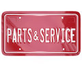 Parts and service license plate automotive car repair shop a blue with the words to advertise a collision body or garage doing Stock Photo