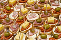 Party appetizers on wooden sticks Royalty Free Stock Photo