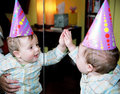 party baby reflexion in mirror Royalty Free Stock Photo