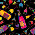 Party background tile pattern with various drinks cocktails abstract art Stock Image