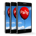 Party balloon phone represents parties events and celebrations representing Stock Photography