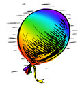 Party balloon with ribbon Royalty Free Stock Photos