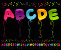 Party balloons alphabet colorful set of in shapes Stock Images