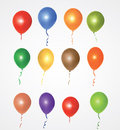 Party balloons collection of colorful isolated group and banner on white background eps file available Royalty Free Stock Photo