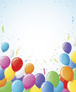 Party Balloons Confetti Border Stock Photo