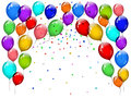 Party balloons with confetti on white background Royalty Free Stock Images