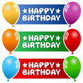 Party balloons horizontal banners a collection of three happy birthday with colorful on blue green and red background eps file Royalty Free Stock Photos