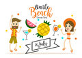 Party on the beach. heading design for banner or poster.