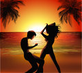 Party on the beach vector illustration of a young couple dancing at a Royalty Free Stock Image