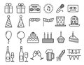 Party birthday holidays icons thin line vector outline icon set Royalty Free Stock Photo