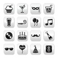 Party, birthday, New Year's, Christmas buttons set Royalty Free Stock Photo