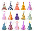 Party caps. Colorful cartoon birthday and carnival paper hats, anniversary and christmas holiday decoration elements Royalty Free Stock Photo
