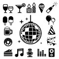 Party and celebration icon set illustration eps Stock Images