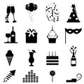 Party and celebration icons Stock Photos