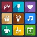 Party and celebration icons set for web mobile applications Stock Photo